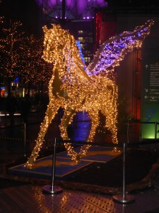 Enchanting illuminated winged horse at Sony Centre Berlin